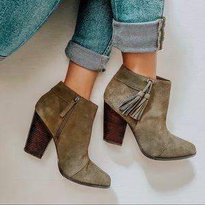 sole society / talisha olive zip tassel booties